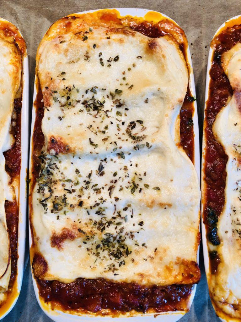 Lasagne mit Bolognese und Spinat